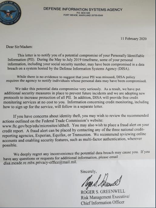 DISA-data-breach-letter
