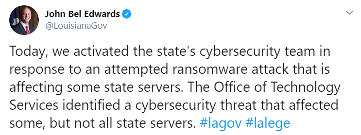 louisiana-governor-ransomware-tweet